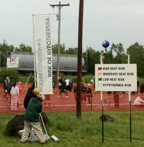 Hypothermia risk banner at Grandma's Marathon