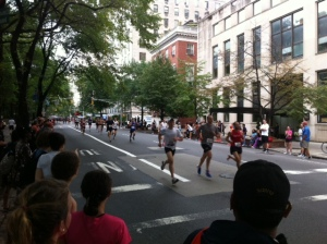 Leaders of the Men's 35-39 group at 1500m of the 2011 Fifth Avenue Mile