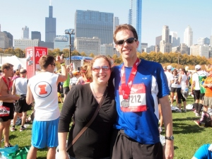 Me and My Wife at the End of the 2011 Chicago Marathon