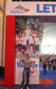 Me at the entrance to the Chicago Marathon Expo