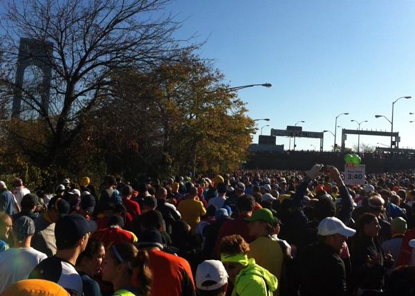 The green wave 1 starting line at the 2011 ING New York City Marathon