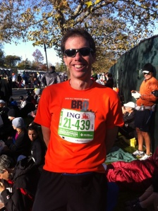Me in the last green corral for wave 1 shortly before the start of the 2011 ING New York City Marathon
